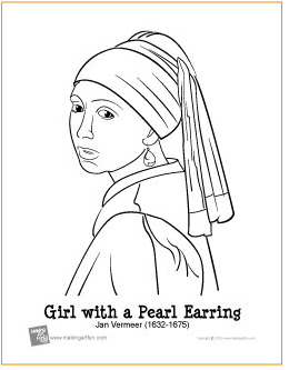 girl with pearl earring coloring pagepng - Mona Lisa Coloring Page Printable