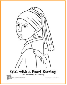Coloring Pages The Art Student With The Pearl Earring Coloring Page Printable